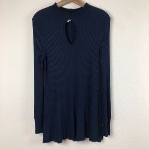 We the Free People Blue Ribbed LongSleeve Dress XS